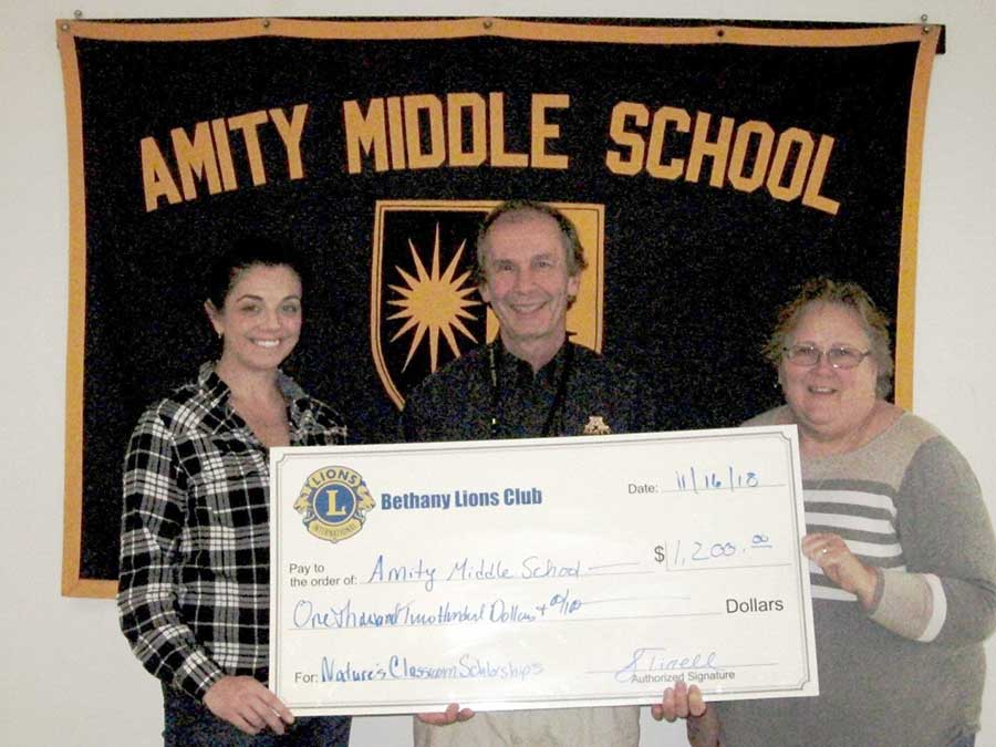 Bethany Lions Club Presents $1,200 Check To Amity Middle School In Bethany